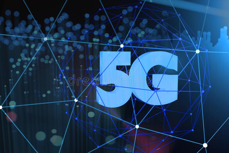 5G symbol on dark digital background. 3D illustration. royalty free stock image