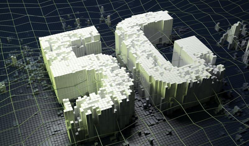 Small boxes forming the 5G symbol on dark digital background. 3D illustration. stock illustration