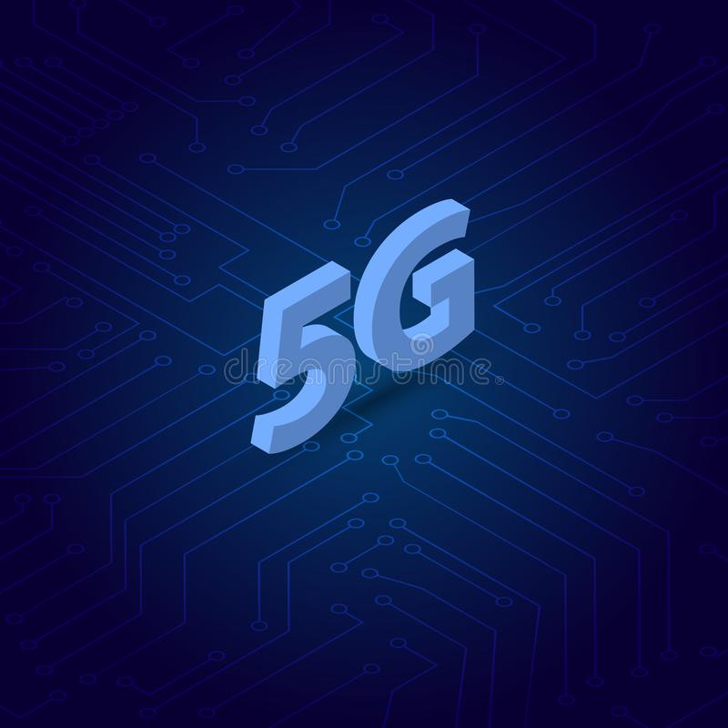 5G symbol na tle komputerowi kontakty ilustracji
