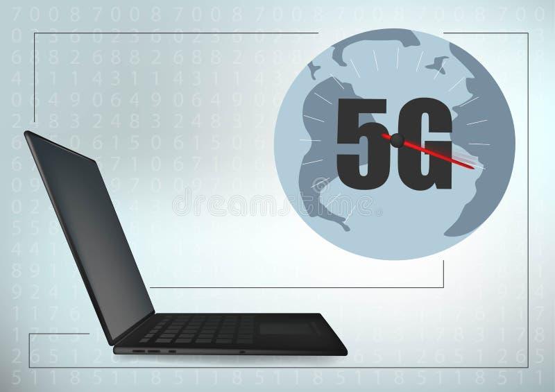5G technologie globale laptop van de de lijn vector futuristische illustratie van het meetkunde dwarskader het malplaatjeachtergr vector illustratie