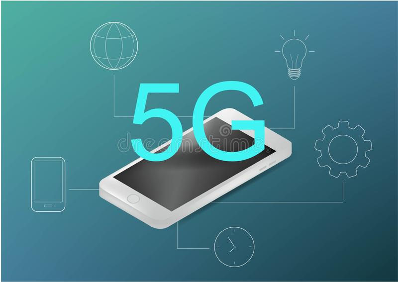 5G technologieconcept Kan voor Webbanner, infographics gebruiken Vlakke isometrische vectorillustratie Realistische telefoon en stock illustratie