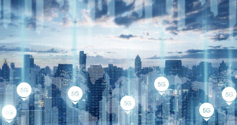 5G technologieconnectiviteit op de communicatie van de stadswereld achtergrond royalty-vrije stock afbeeldingen
