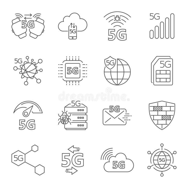 5G technologii radio, 5g sieć, komunikacji mobilnej 5th pokolenie, 5g wiszącej ozdoby internet Set liniowe wektorowe ikony ilustracja wektor