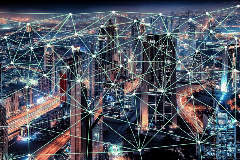 Connected cities to 5G technology. 2019, 5G technology begins to arrive in the big cities royalty free illustration