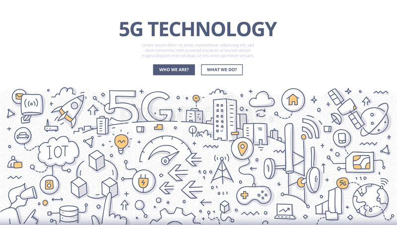 5G Technology Doodle Concept. 5G technology concept. Next-generation of telecom networks. High speed mobile internet creates new opportunities in data royalty free illustration