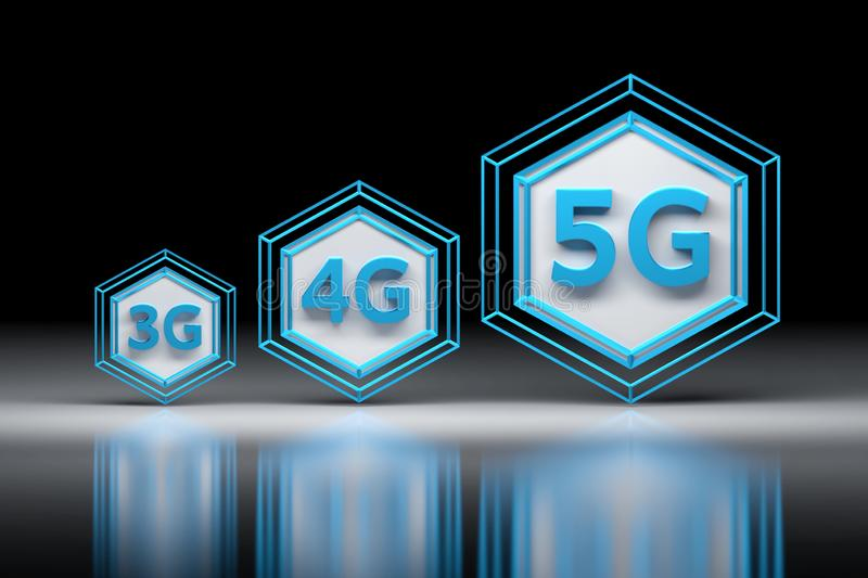 Hexagons and 3G, 4G, 5G letters. vector illustration