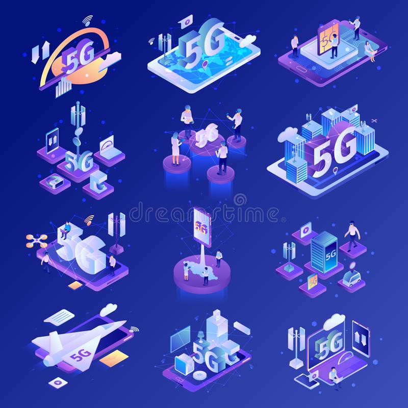 5G Technology Icon Set. Isometric 5g internet technology set with isolated icons of electronic devices gadgets and network infrastructure elements vector vector illustration