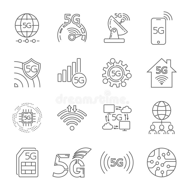 5G technology icons set. Outline set of 5G technology vector icons for web design isolated on white background. Editable royalty free illustration