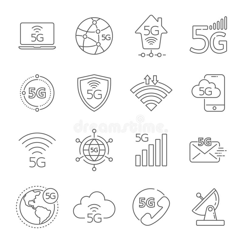 5G technology icons set. 5th generation mobile network, high speed connection wireless systems. Set of 5G technology stock illustration