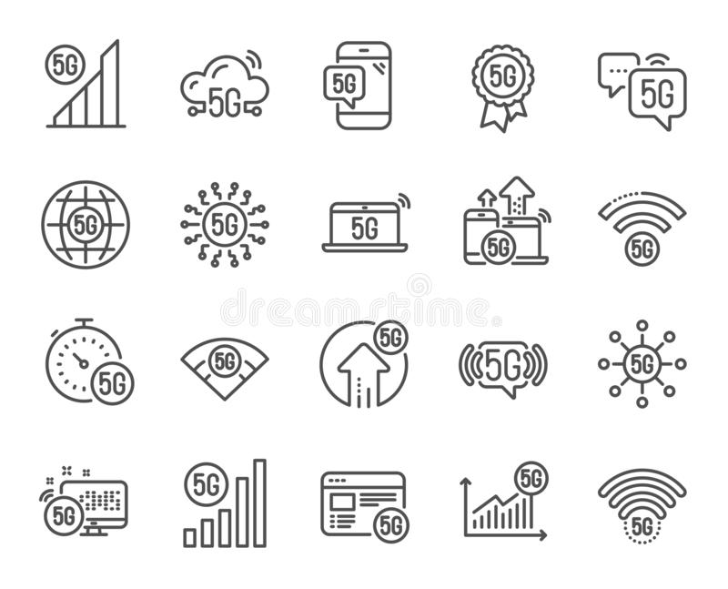5G technology line icons. Mobile network, fast internet, phone connection. Hotspot signal. Vector royalty free illustration