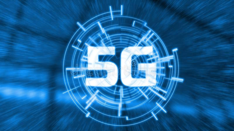 5G technology network wireless with very super fast data communication bandwidth speed. Glowing LED logo with futiristic hud stock illustration