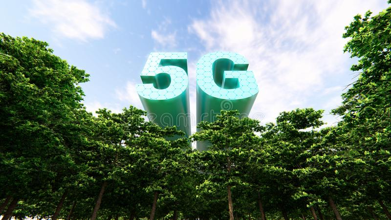 5G Technology Networks Concept. 3D rendering stock images