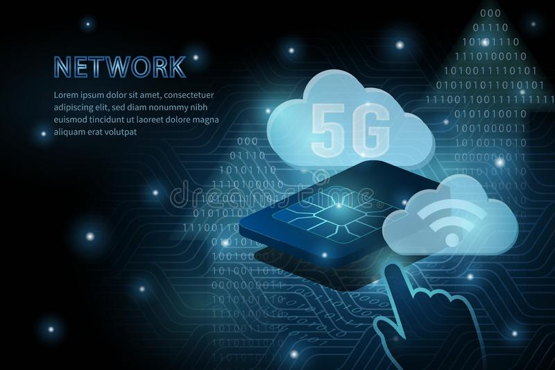 5G Wifi Cloud Technology And Sim Card Geometry Cross Frame