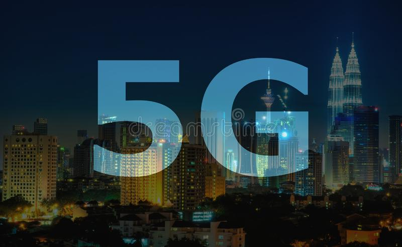 5G tekst op Kuala Lumpur Malaysia royalty-vrije stock fotografie