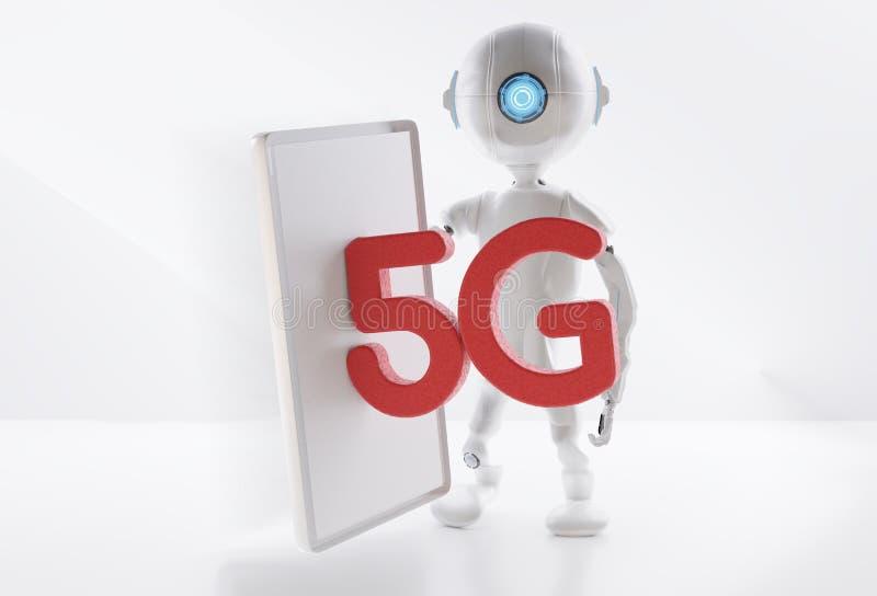 5G telefonu komórkowego telefon komórkowy odizolowywający na białym tle 3d-illustration ilustracja wektor