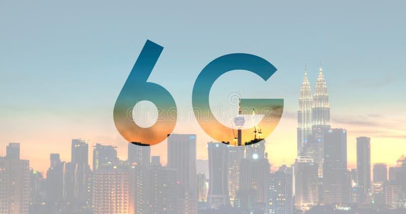 6G text on Kuala Lumpur Malaysia. Background royalty free stock photography