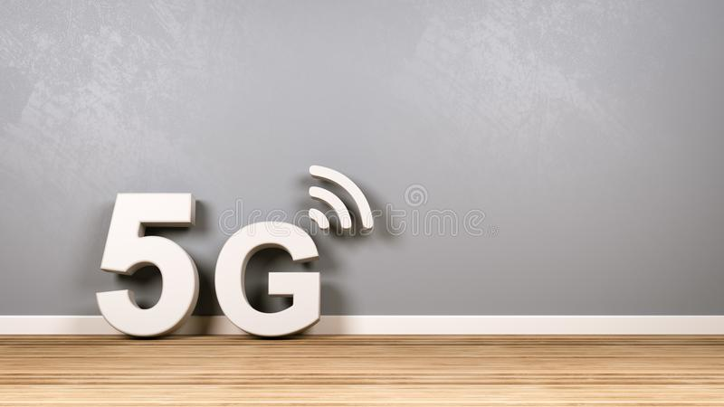 5G Text on Wooden Floor Against Wall royalty free illustration