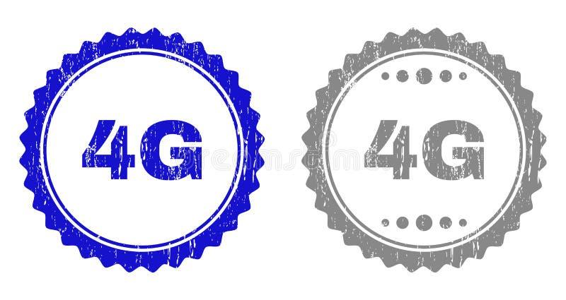 4G Textured riscou selos do selo com fita ilustração stock
