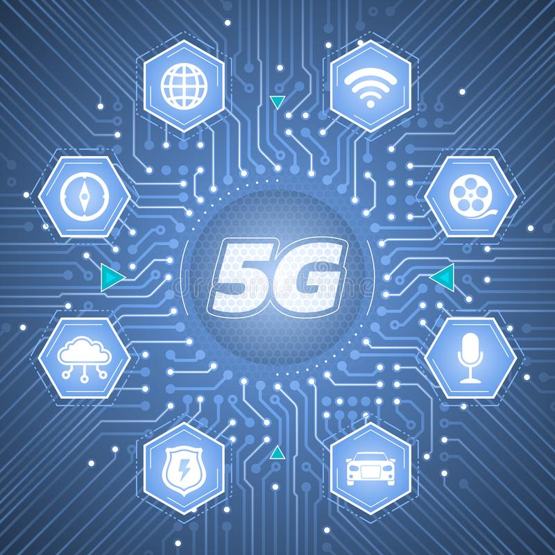 5G - trådlösa system för 5th utveckling royaltyfri illustrationer