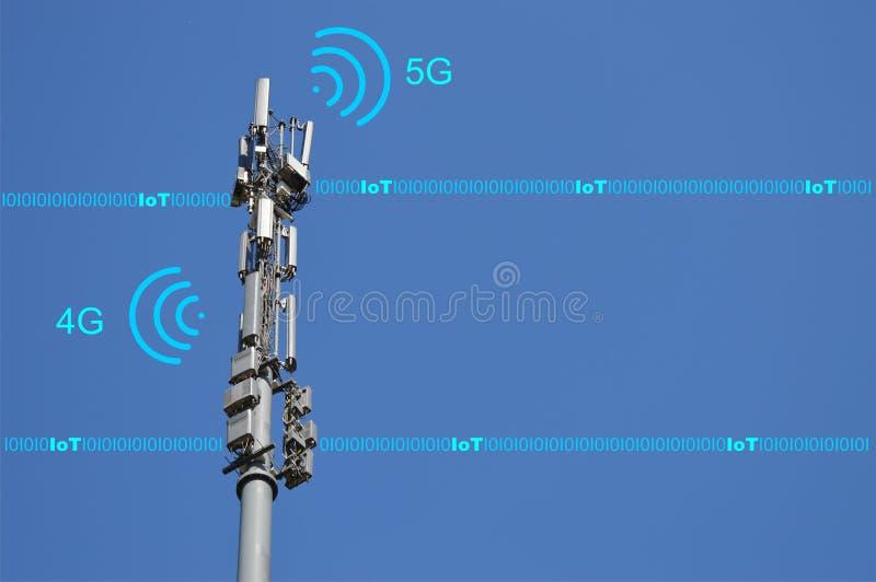 4G und 5G Mobilfunknetze - zukünftiges Technologiekonzept des beweglichen Netzes mit IoT-Zusammenhang stockbild