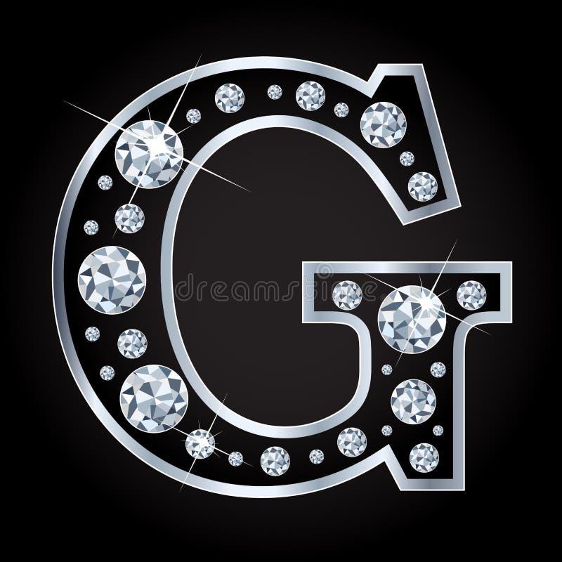 G vectordiebrief met diamanten wordt gemaakt op zwarte achtergrond worden geïsoleerd royalty-vrije illustratie
