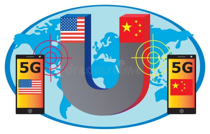 5G wereldwijde concurrentie stock foto's