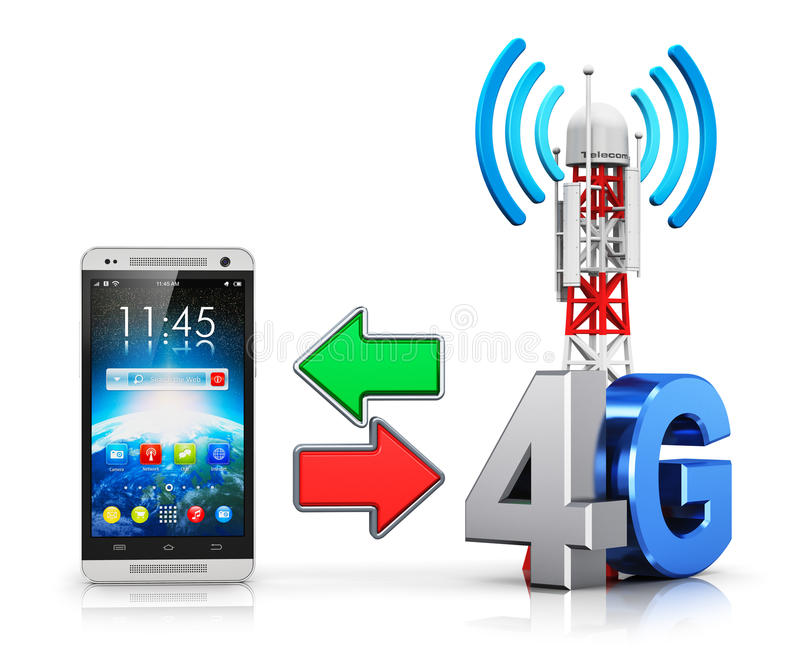 4G Wireless Communication Concept Stock Illustration - Illustration ...