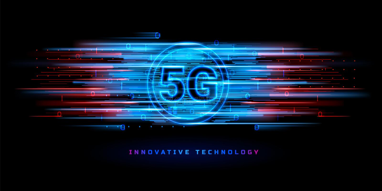 5g wireless connection for technology banner. Binary data flowing through 5g wireless connection for technology banner. Global speed internet network connection vector illustration
