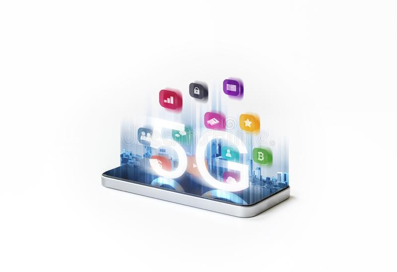 5G wireless high speed internet network on mobile smart phone and application technology royalty free illustration