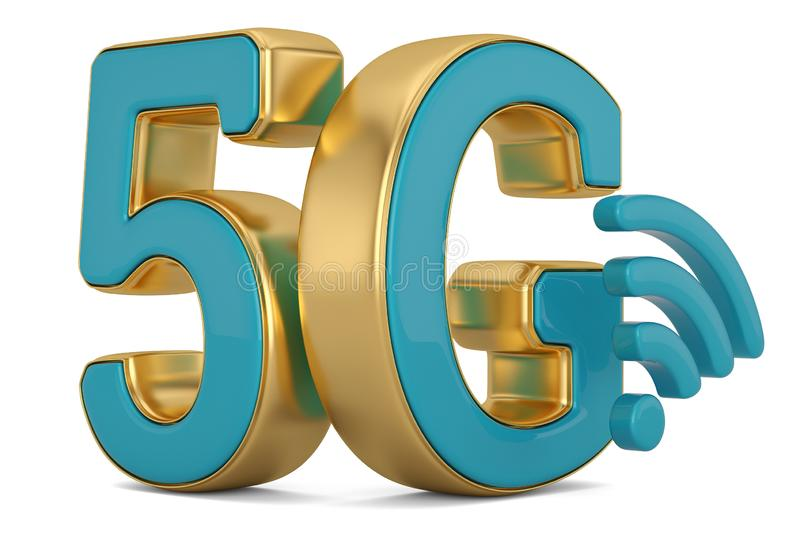 5G wireless network icon on white background. 3D illustration royalty free illustration