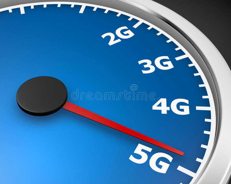 5g. Wireless network speed. 5G high speed internet concept. 3d rendering royalty free illustration