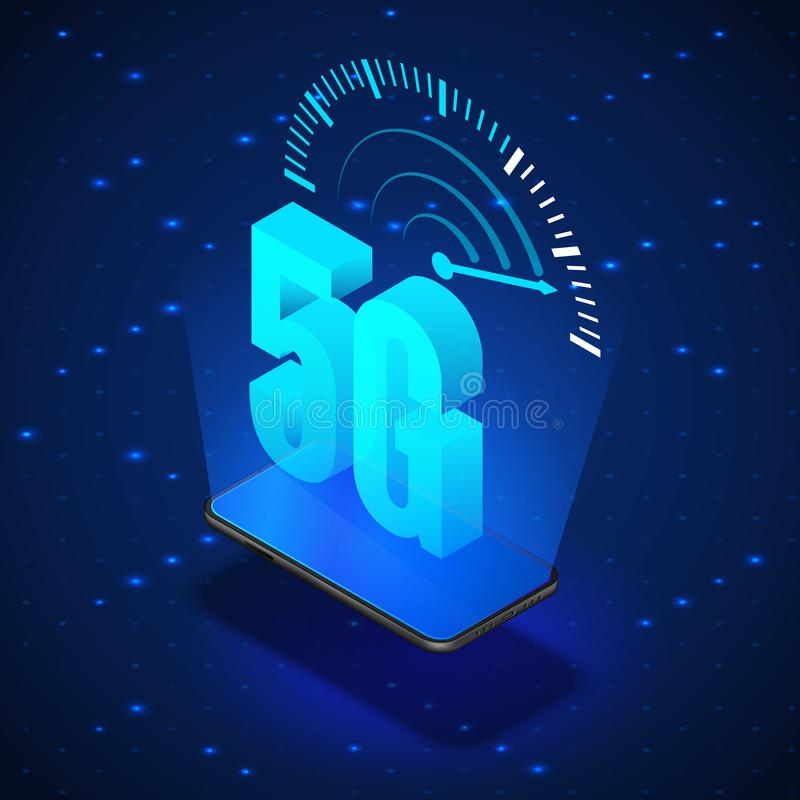 5G Wireless Network Systems. Mobile Internet Technology. Isometric Banner 5G Network Technology. Vector royalty free illustration