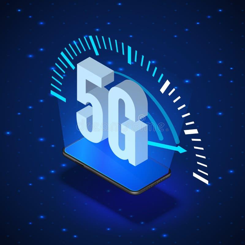 5G Wireless Network Systems. Mobile Internet Technology. Isometric Banner 5G Network Technology. Vector illustration vector illustration