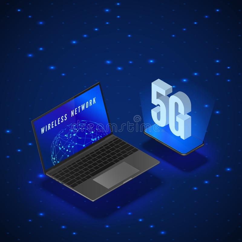 5G Wireless Network Systems. Mobile Internet Technology. Laptop and Phone Isometric Banner 5G Network Technology. Vector stock illustration