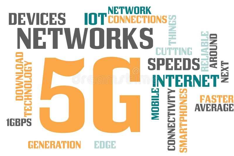 5G word cloud. Illustration of word cloud tags related to 5g technology concept vector illustration