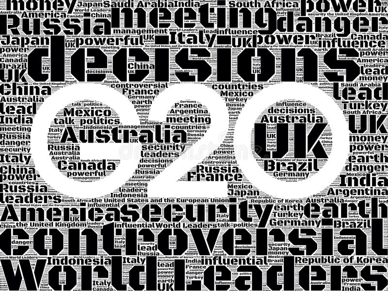 G20 2014. G20 in words in black and white