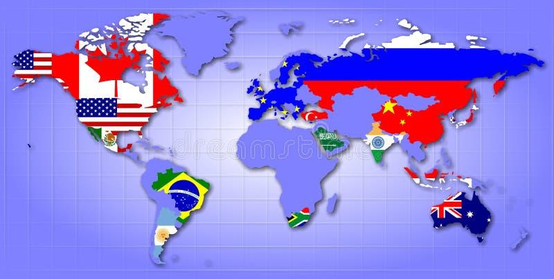 G20 kaart vector illustratie