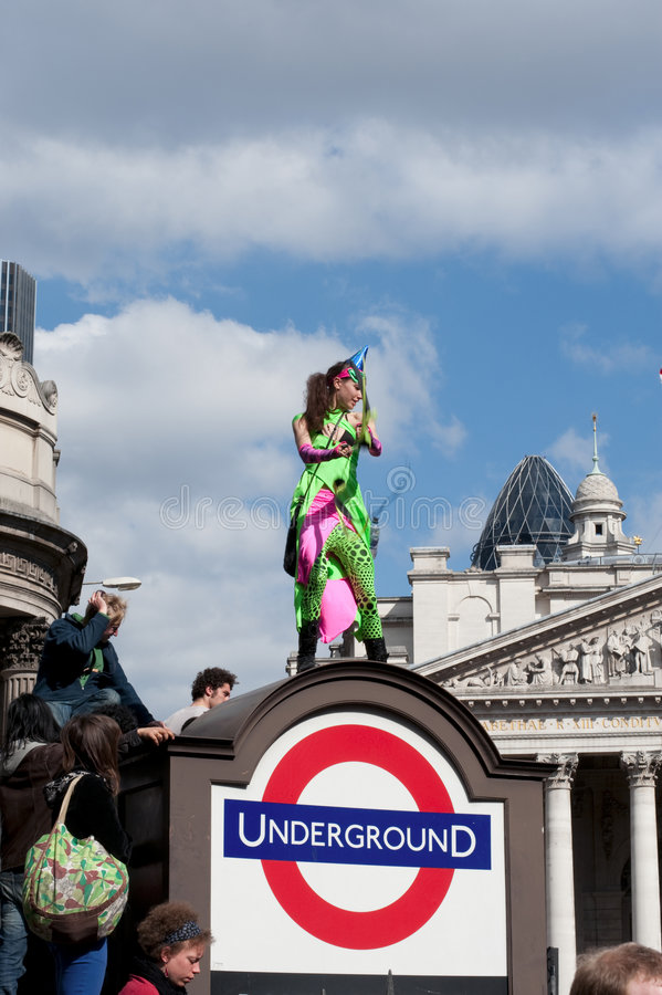 G20 protesta il 1° aprile 2009 Londra immagine stock libera da diritti