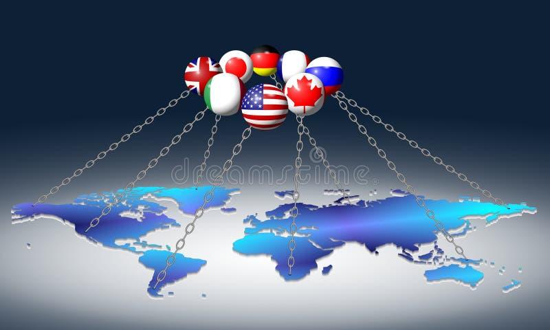 G8 et monde illustration de vecteur