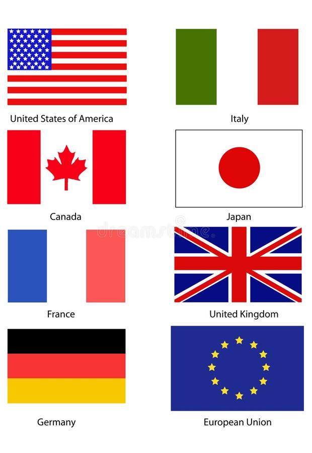 G8 Flags stock illustration