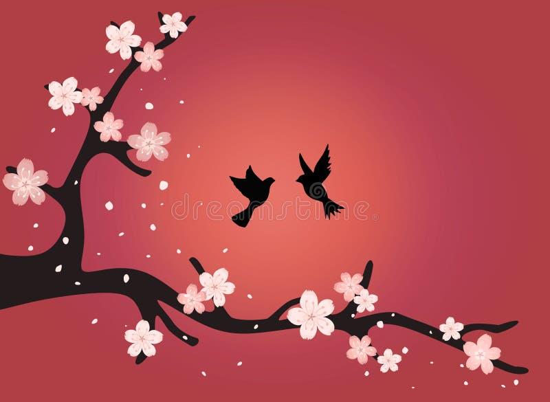 Gałąź czereśniowi okwitnięcia z ptakami przy zmierzchem royalty ilustracja