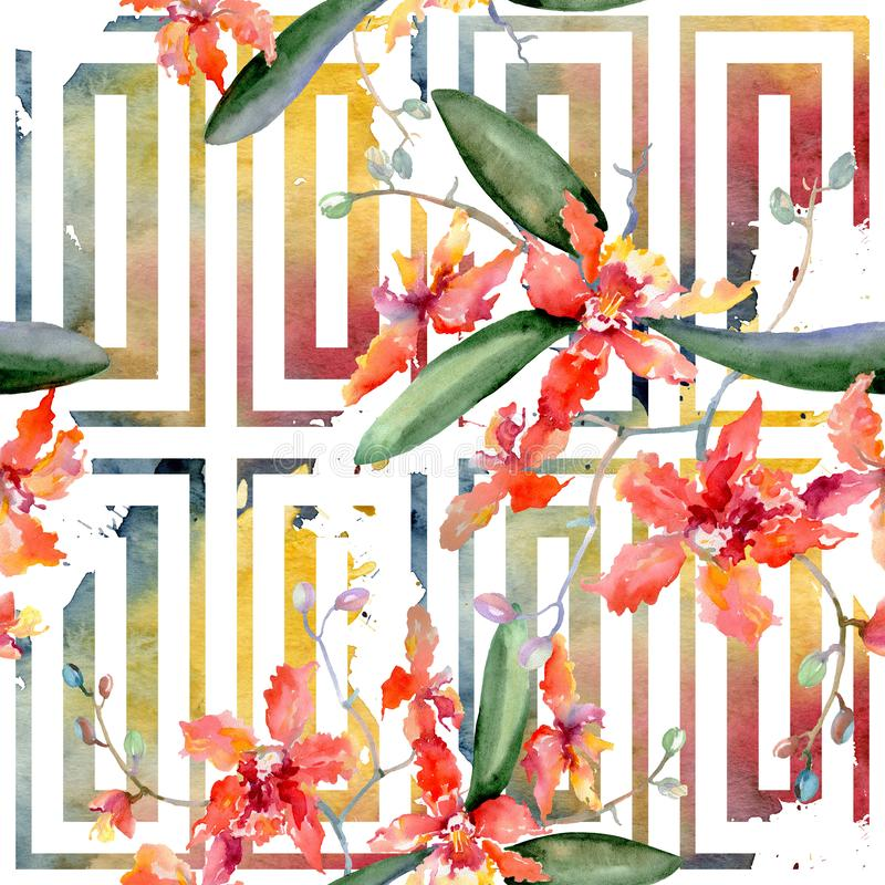 Gałąź koralowe orchidee Kwiecisty botaniczny kwiat Akwareli tła ilustracji set Bezszwowy tło wzór ilustracji