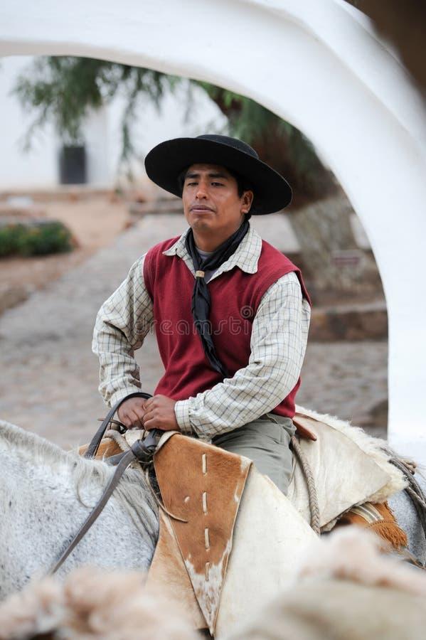 Gaúchos no festival tradicional em Purmamarca, província Jujuy fotografia de stock royalty free