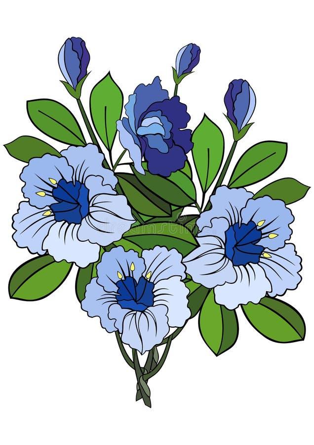 Gałąź abstrakcjonistyczni błękitni kwiaty ilustracji