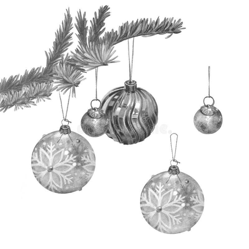 Gałąź choinka z trzy różnymi pięknymi piłkami ilustracja wektor