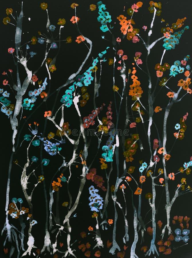Gałąź czereśniowi okwitnięcia z kwiatami różni kolory na czarnym tle ilustracja wektor