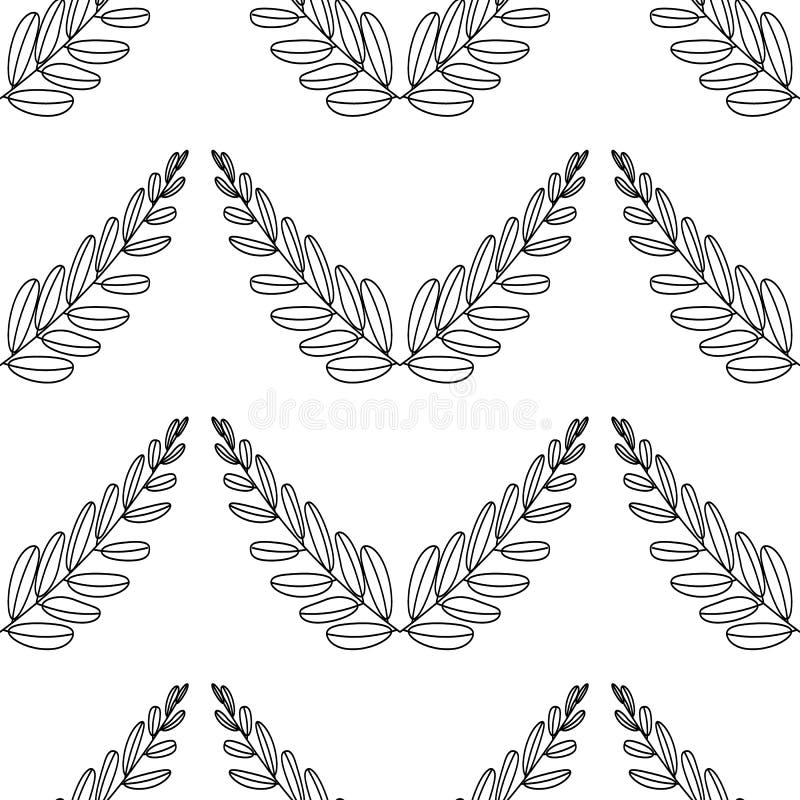 Gałąź oliwki, symbol zwycięstwo, wektorowa ilustracja, kreskowa sylwetka bezszwowy wzoru ilustracji