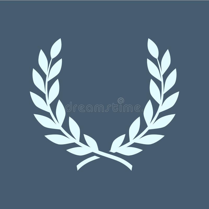 Gałąź oliwki, symbol zwycięstwo, wektorowa ilustracja, płaska sylwetki ikona, przedmiot dla projekta, bobek, wianek, nagrody, rzy ilustracja wektor