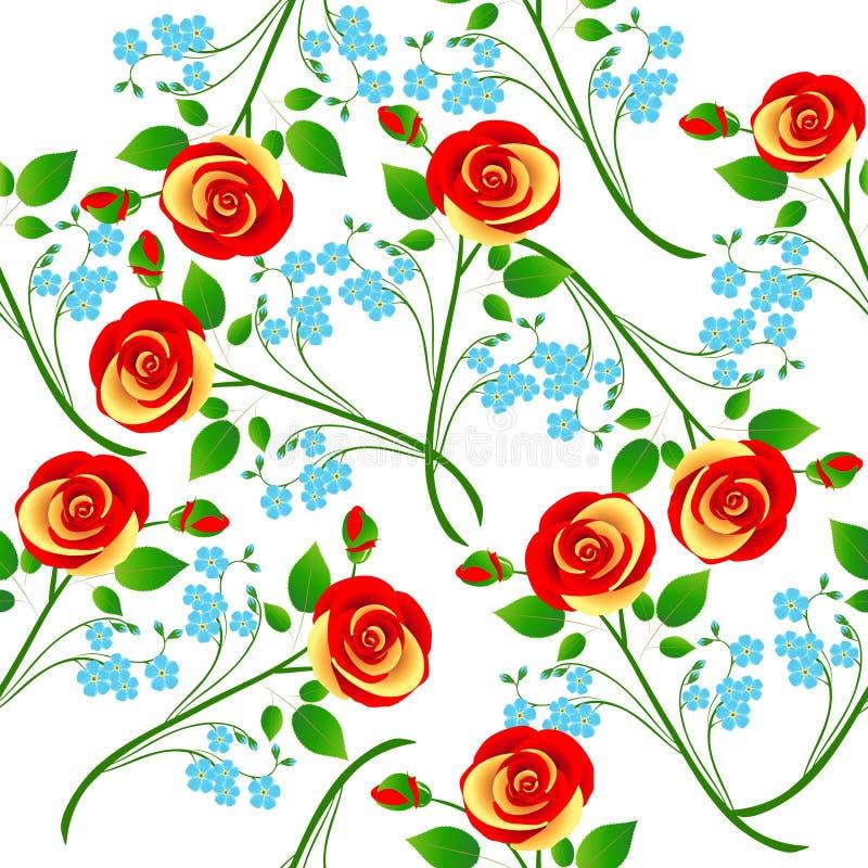 Gałąź róże i kwiaty zapominają ja bezszwowy wzór ilustracja wektor