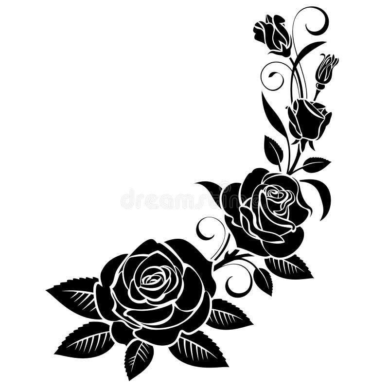 Gałąź róże na białym tle ilustracji